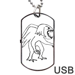 Monster Bird Drawing Dog Tag USB Flash (One Side)