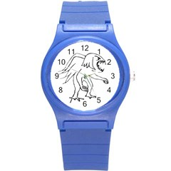 Monster Bird Drawing Round Plastic Sport Watch (S)