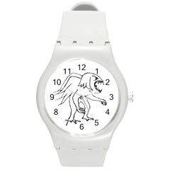 Monster Bird Drawing Round Plastic Sport Watch (M)