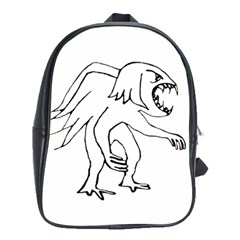 Monster Bird Drawing School Bags (XL)