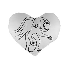 Monster Bird Drawing Standard 16  Premium Heart Shape Cushions
