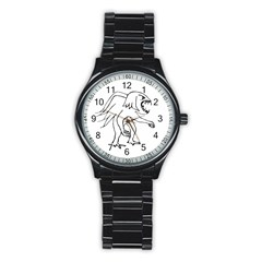 Monster Bird Drawing Stainless Steel Round Watch