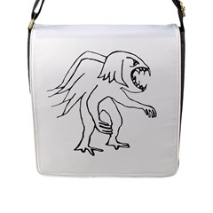 Monster Bird Drawing Flap Messenger Bag (L)