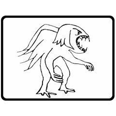 Monster Bird Drawing Double Sided Fleece Blanket (Large)