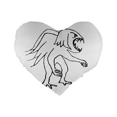 Monster Bird Drawing Standard 16  Premium Flano Heart Shape Cushions