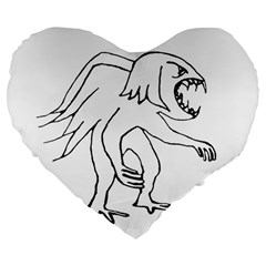 Monster Bird Drawing Large 19  Premium Flano Heart Shape Cushions