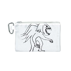Monster Bird Drawing Canvas Cosmetic Bag (S)