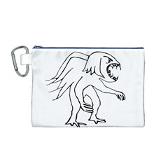 Monster Bird Drawing Canvas Cosmetic Bag (M)