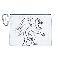 Monster Bird Drawing Canvas Cosmetic Bag (L)