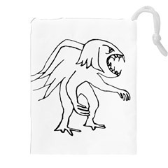 Monster Bird Drawing Drawstring Pouches (XXL)