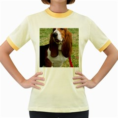 Basset Hound Sitting  Women s Fitted Ringer T-Shirts