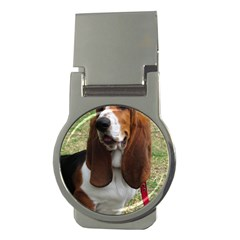 Basset Hound Sitting  Money Clips (Round)