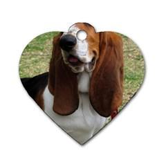 Basset Hound Sitting  Dog Tag Heart (One Side)