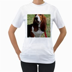 Basset Hound Sitting  Women s T-Shirt (White)