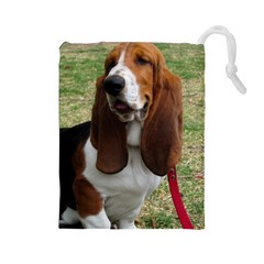 Basset Hound Sitting  Drawstring Pouches (Large)