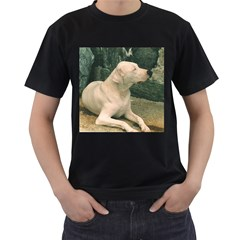 Dogo Argentino Laying  Men s T-Shirt (Black) (Two Sided)