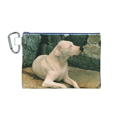 Dogo Argentino Laying  Canvas Cosmetic Bag (M)