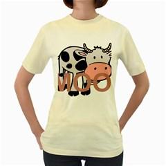 Moo Cow Cartoon  Women s Yellow T-Shirt