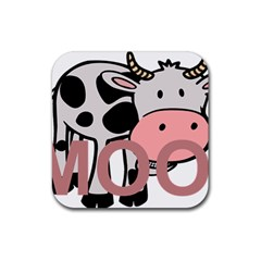 Moo Cow Cartoon  Rubber Square Coaster (4 pack)