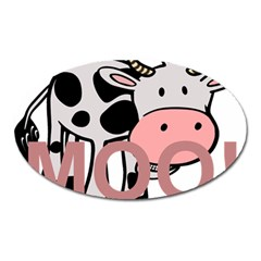 Moo Cow Cartoon  Oval Magnet