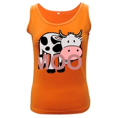 Moo Cow Cartoon  Women s Dark Tank Top