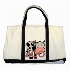 Moo Cow Cartoon  Two Tone Tote Bag