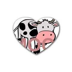 Moo Cow Cartoon  Rubber Coaster (Heart)