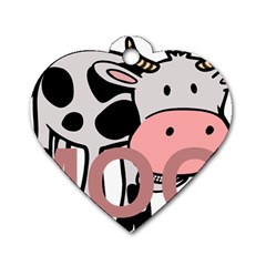 Moo Cow Cartoon  Dog Tag Heart (Two Sides)