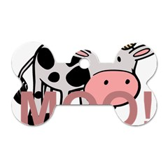 Moo Cow Cartoon  Dog Tag Bone (Two Sides)