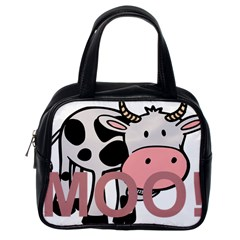 Moo Cow Cartoon  Classic Handbags (One Side)