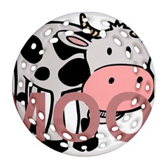 Moo Cow Cartoon  Round Filigree Ornament (2Side)