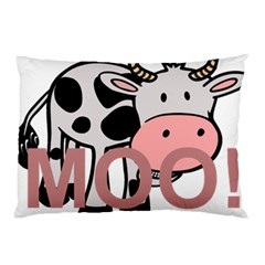 Moo Cow Cartoon  Pillow Case (Two Sides)