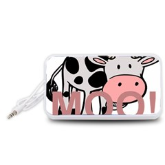 Moo Cow Cartoon  Portable Speaker (White)