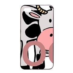 Moo Cow Cartoon  Apple iPhone 4/4s Seamless Case (Black)