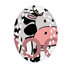 Moo Cow Cartoon  Oval Filigree Ornament (2-Side)