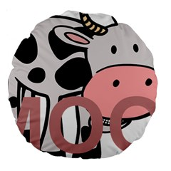 Moo Cow Cartoon  Large 18  Premium Round Cushions