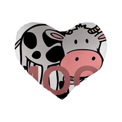 Moo Cow Cartoon  Standard 16  Premium Heart Shape Cushions