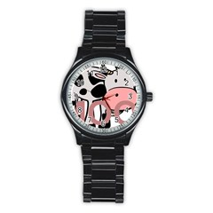 Moo Cow Cartoon  Stainless Steel Round Watch
