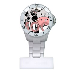 Moo Cow Cartoon  Plastic Nurses Watch