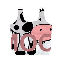 Moo Cow Cartoon  Full Print Recycle Bags (M)