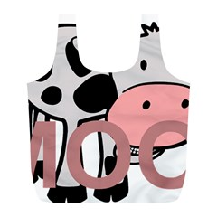 Moo Cow Cartoon  Full Print Recycle Bags (L)