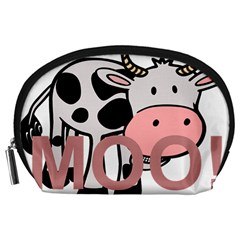 Moo Cow Cartoon  Accessory Pouches (Large)
