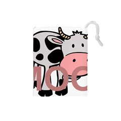 Moo Cow Cartoon  Drawstring Pouches (Small)