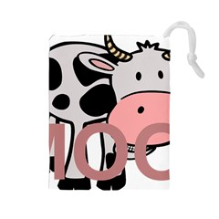 Moo Cow Cartoon  Drawstring Pouches (Large)