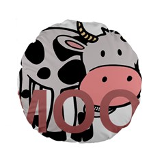 Moo Cow Cartoon  Standard 15  Premium Flano Round Cushions