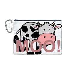 Moo Cow Cartoon  Canvas Cosmetic Bag (M)