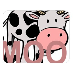 Moo Cow Cartoon  Double Sided Flano Blanket (Large)