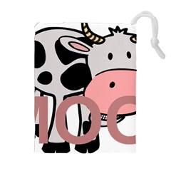 Moo Cow Cartoon  Drawstring Pouches (Extra Large)