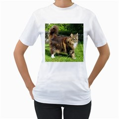 Norwegian Forest Cat Full  Women s T-Shirt (White) (Two Sided)