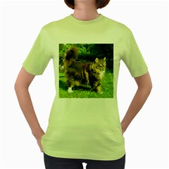 Norwegian Forest Cat Full  Women s Green T-Shirt